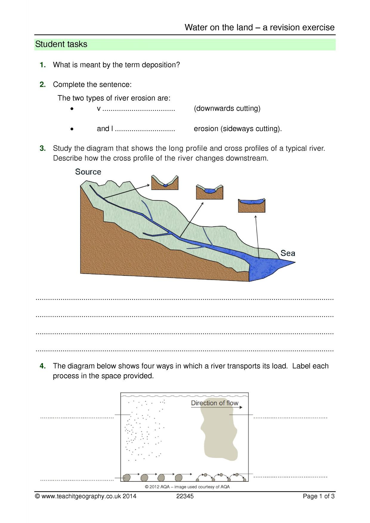 Erosion and Deposition Worksheet Erosion Search Results Teachit Geography
