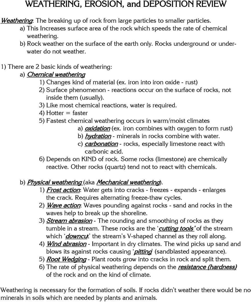 Erosion and Deposition Worksheet Weathering Erosion and Deposition Review Pdf Free Download