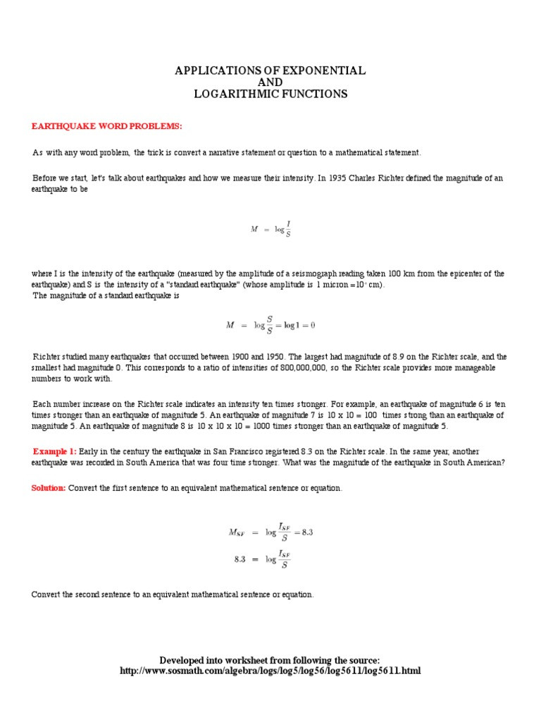 Exponential Function Word Problems Worksheet Earthquake Word Problems Geophysics