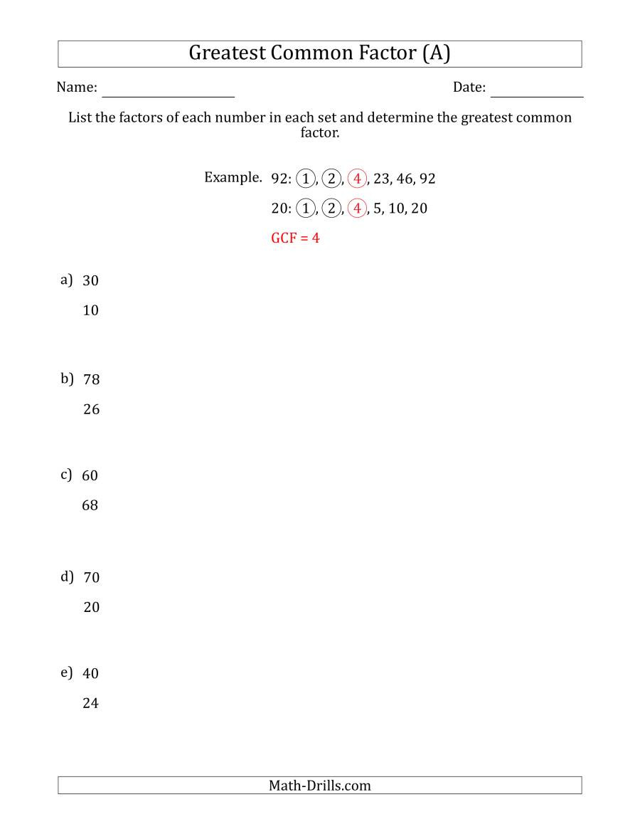 Factoring Polynomials by Grouping Worksheet Determining Greatest Mon Factors Of Sets Of Two Numbers