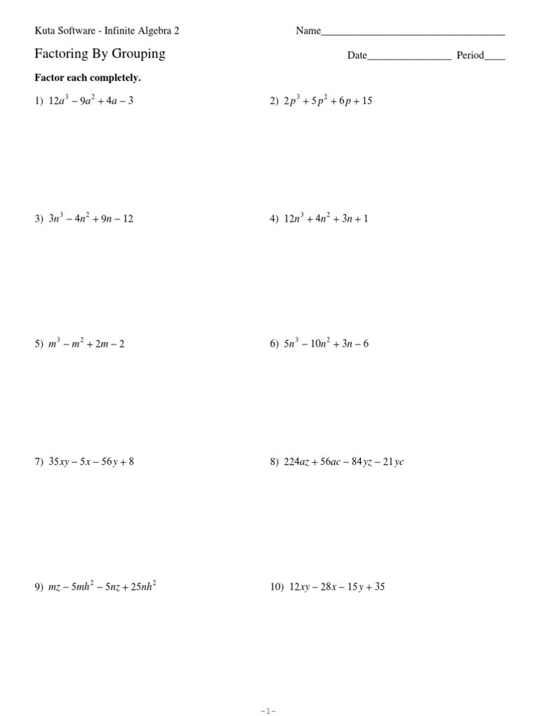Factoring Polynomials by Grouping Worksheet Factoring by Grouping 1