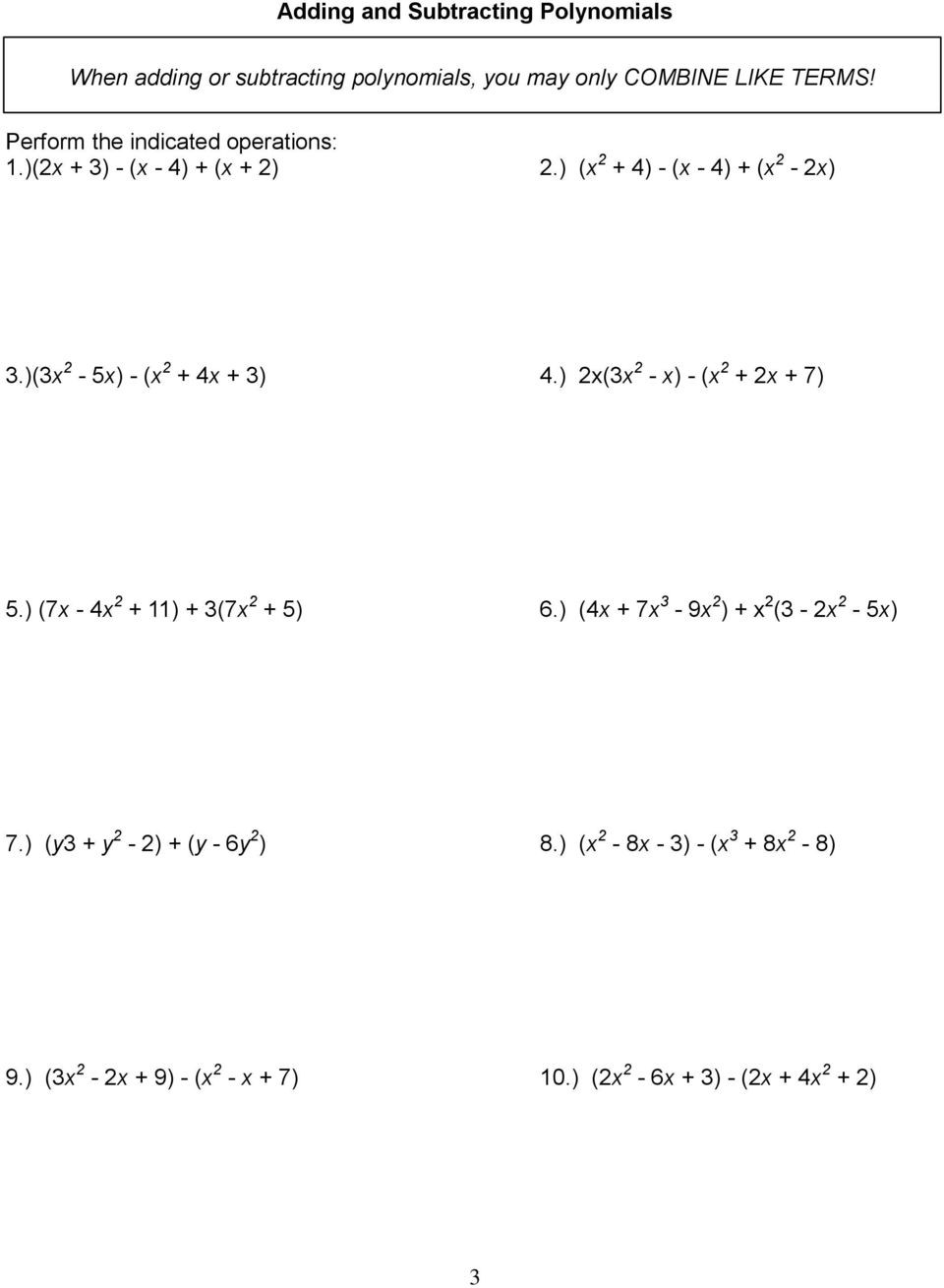 Factoring Polynomials by Grouping Worksheet Name Intro to Algebra 2 Unit 1 Polynomials and Factoring