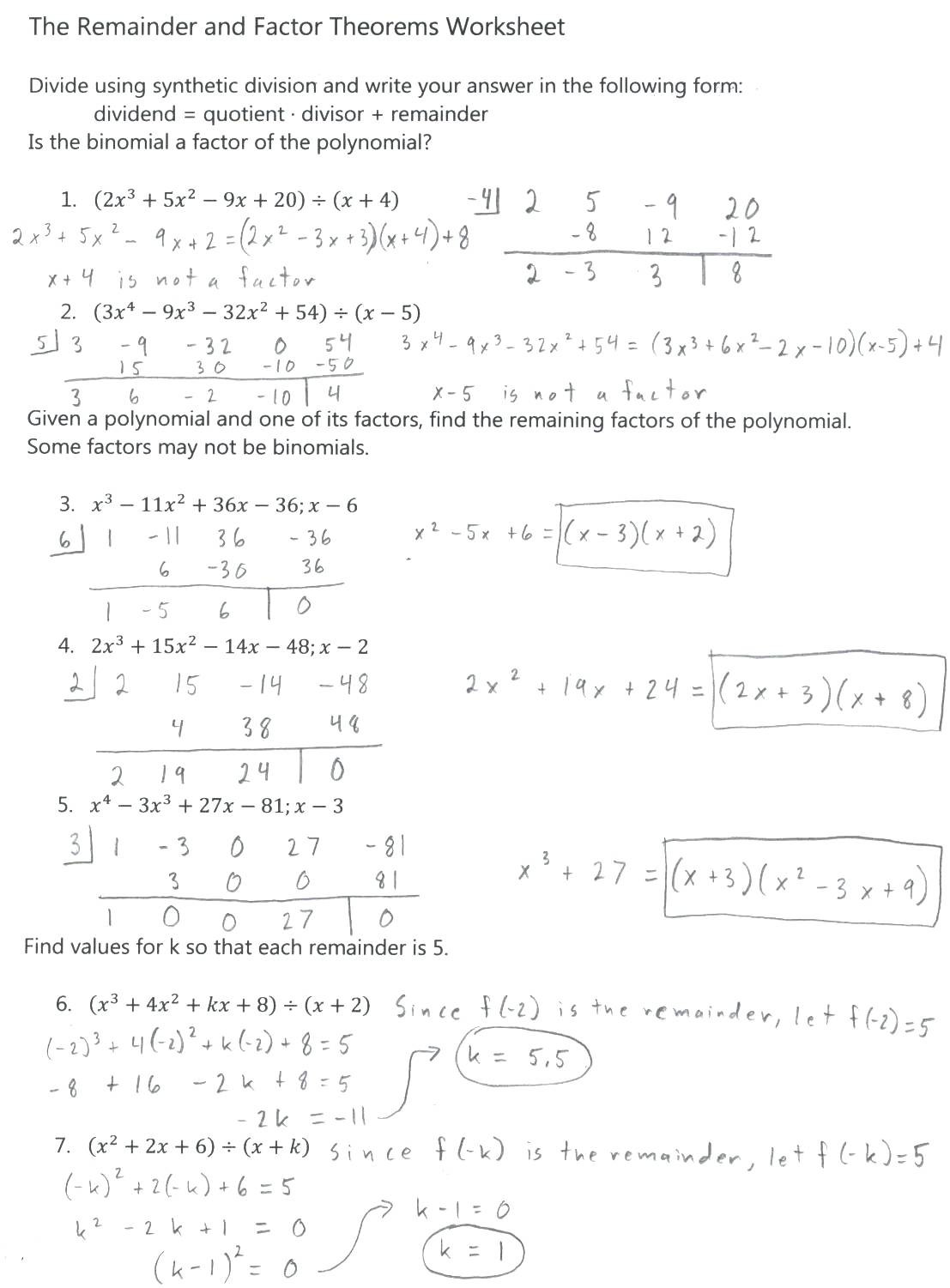 Factoring Polynomials Worksheet Answers Algebra 2 Factoring Worksheet with Answers