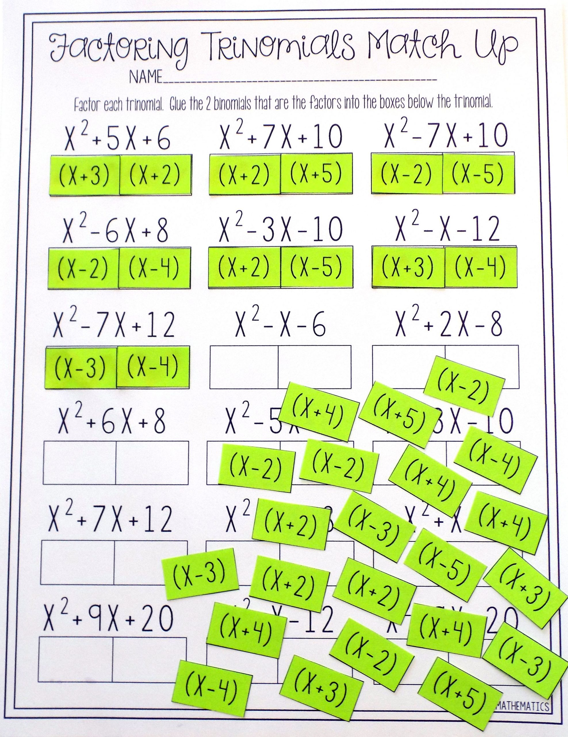 Factoring Polynomials Worksheet Answers Factoring Polynomials Trinomials Activity Beginner