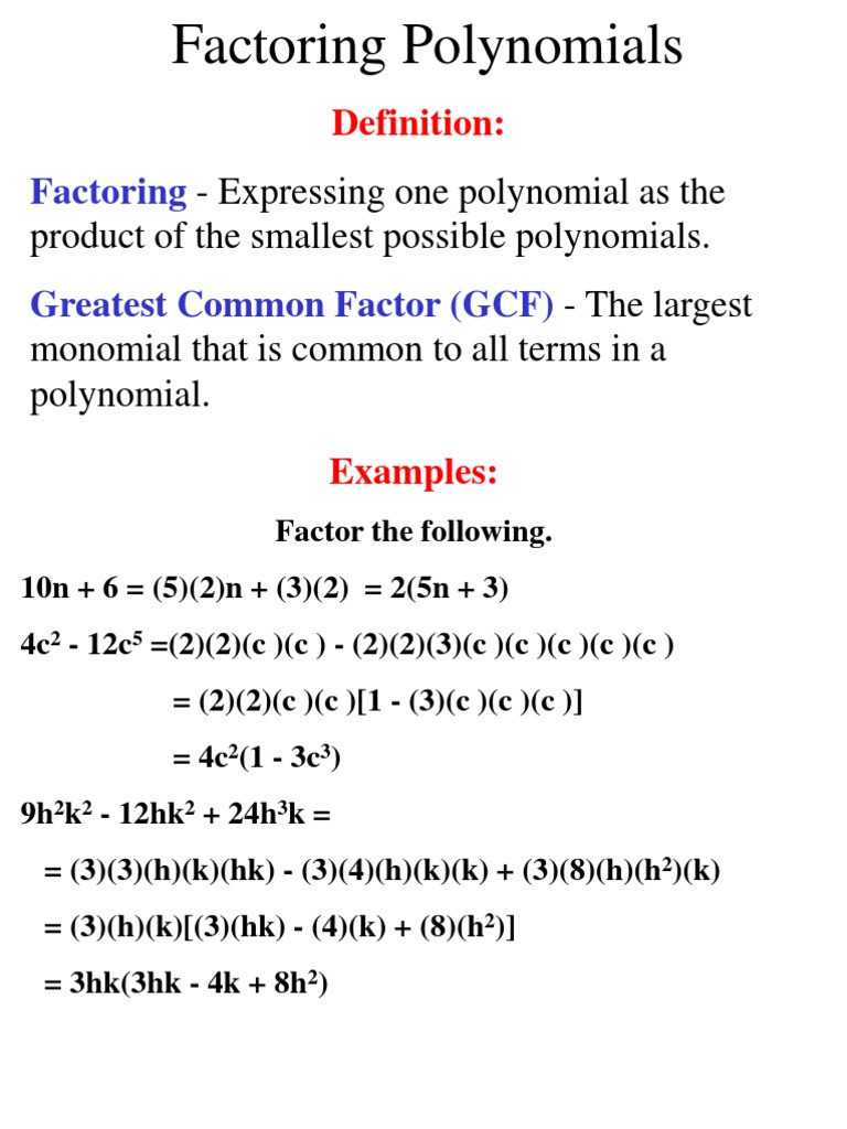 Factoring Polynomials Worksheet Answers Notes Unit 06 Factoring Polynomials Factorization