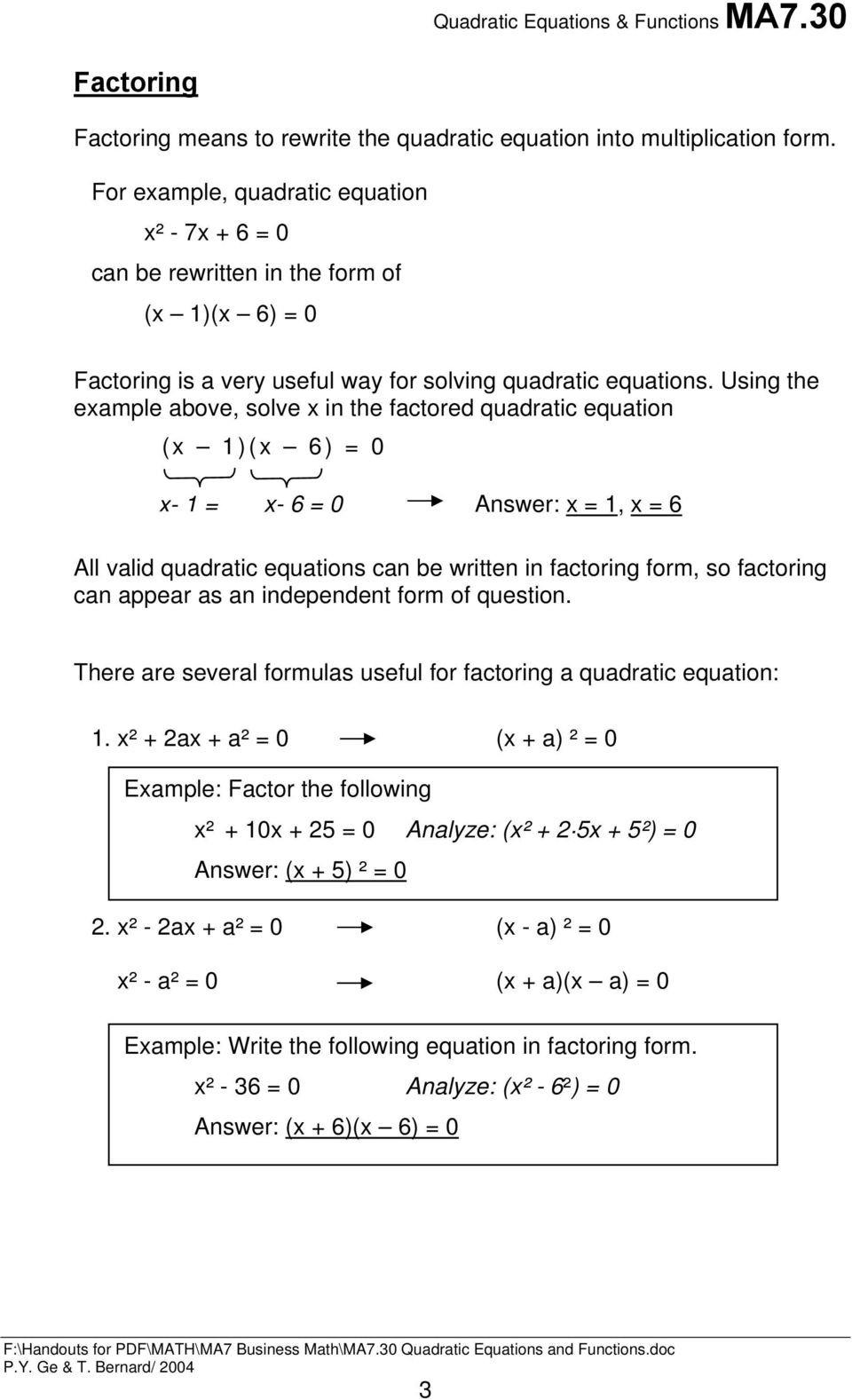 Factoring Quadratic Expressions Worksheet Quadratic Equations and Functions Pdf Free Download