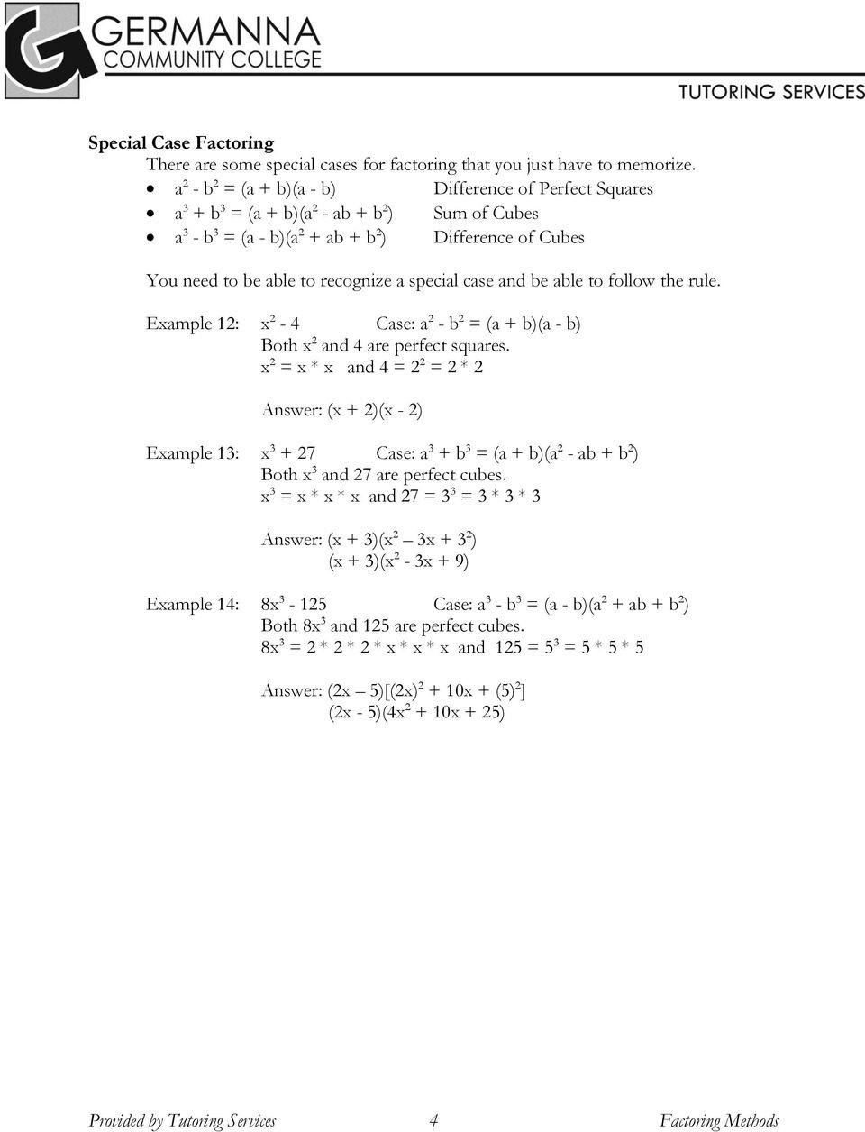 Factoring Special Cases Worksheet Factoring Methods Example 1 2x X 2 1 2 X 1 Pdf