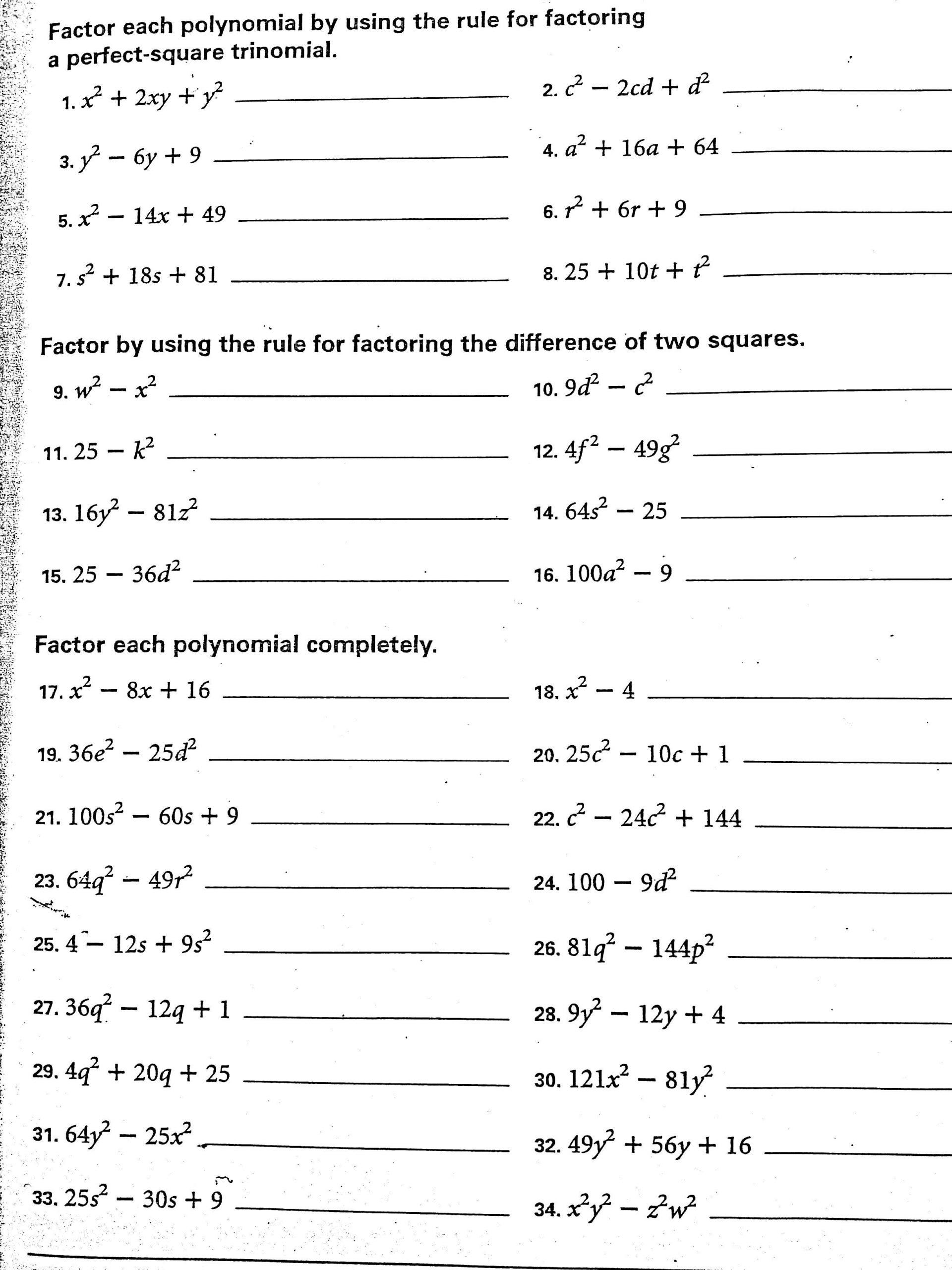 Factoring Special Cases Worksheet Factoring Tricky Trinomials Worksheet