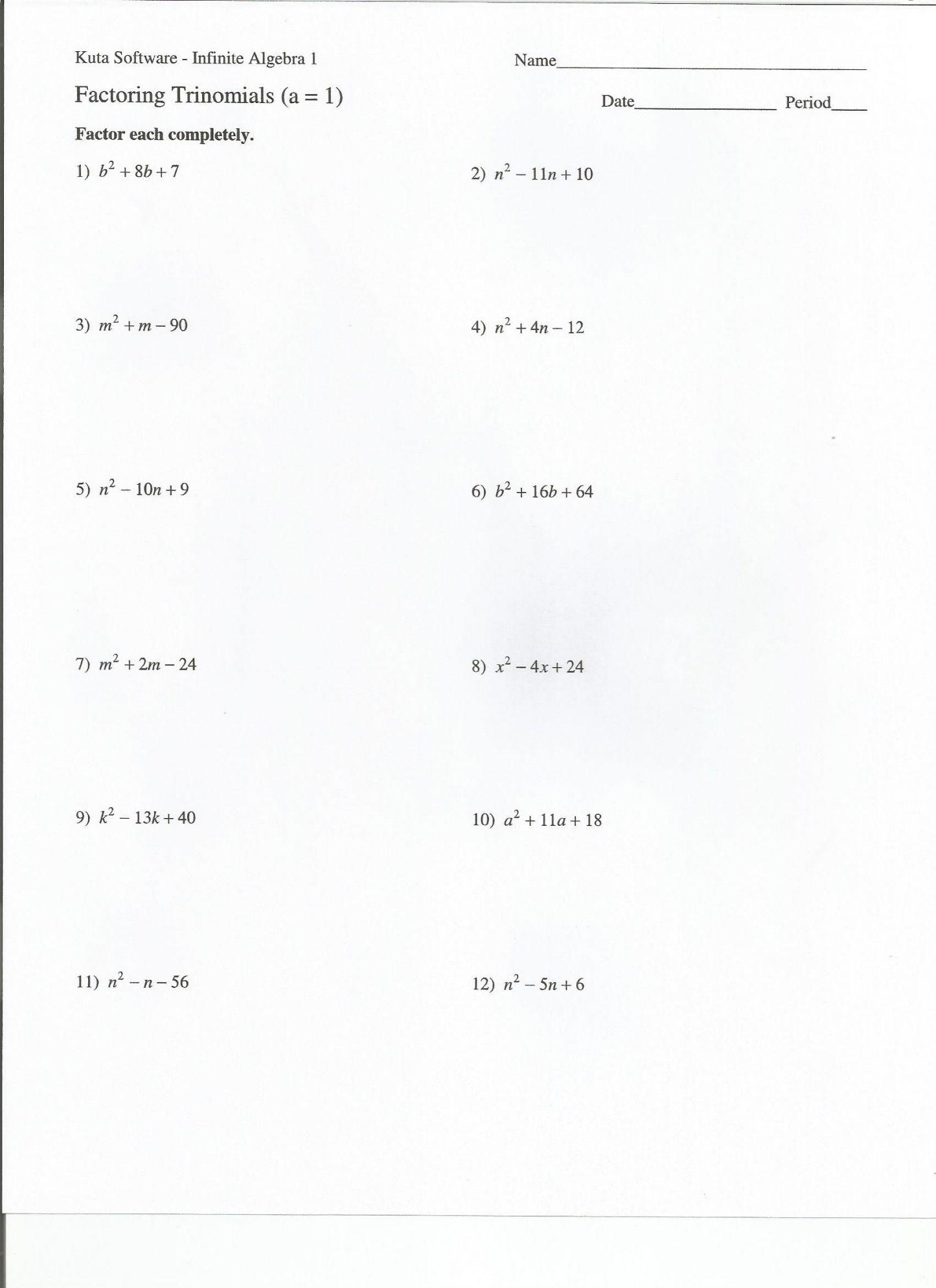 Factoring Trinomials A 1 Worksheet Factoring Trinomials X2 Bx C Worksheet