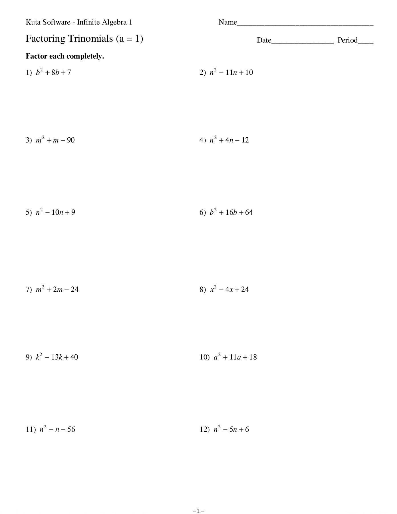 Factoring Trinomials Worksheet Algebra 2 Factoring Trinomials A = 1 Date Period Kuta software Llc