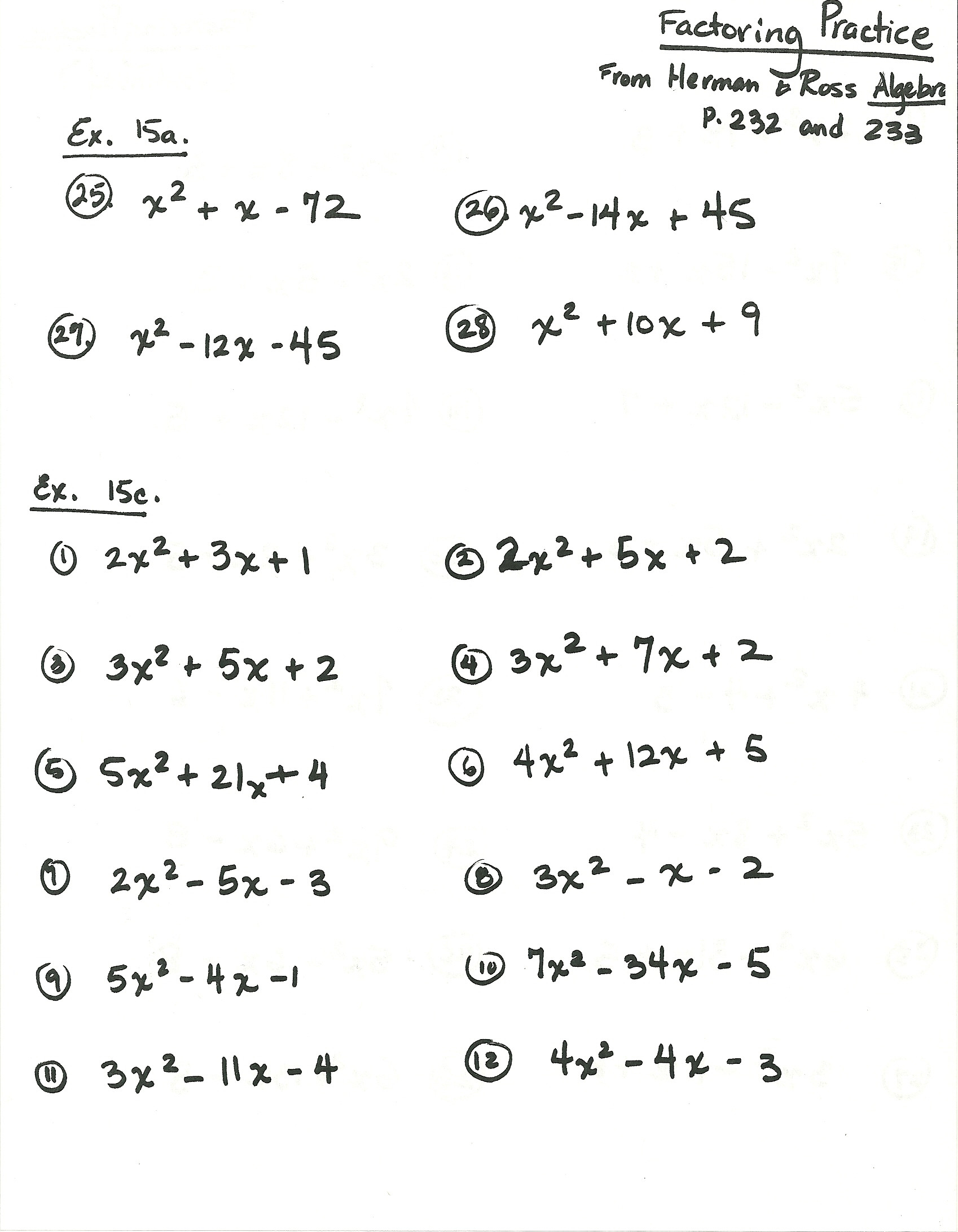 Factoring Worksheet Algebra 1 Algebra Worksheet Grade Worksheets Herman and Factoring