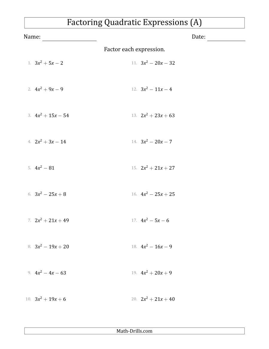 Factoring Worksheet Algebra 1 Factoring Quadratic Expressions with Positive A