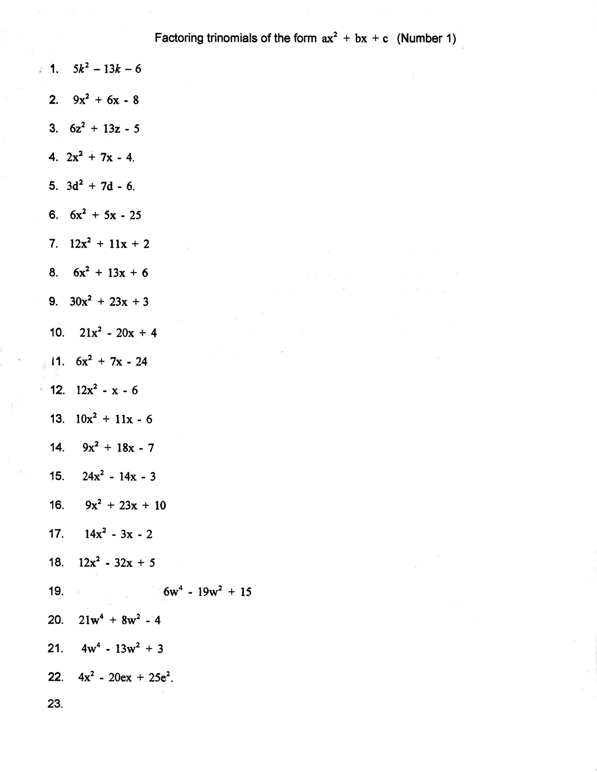 Factoring Worksheet Algebra 1 Factoring Trinomials Trial and Error Worksheet