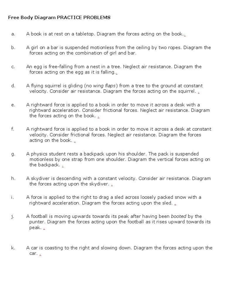 Free Body Diagram Worksheet Answers Free Body Diagram Practice Problems