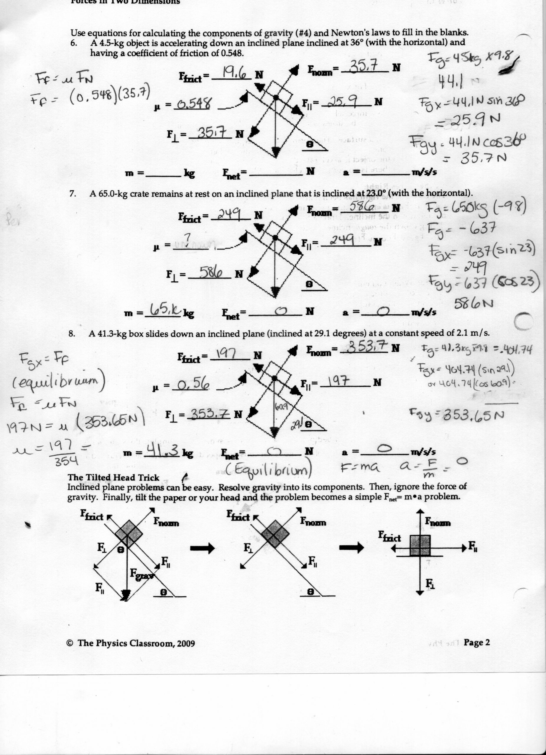 Free Body Diagram Worksheet Answers Newtons Second Law Worksheet the Physics Classroom Answers