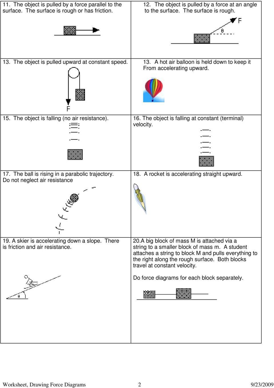 Free Body Diagram Worksheet Answers Worksheet 1 Free Body or force Diagrams Pdf Free Download