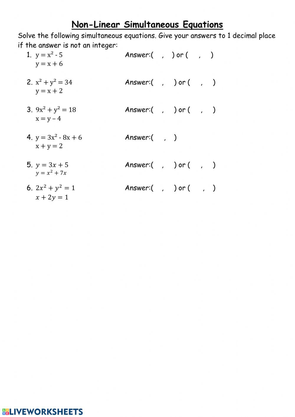 From Linear to Quadratic Worksheet Non Linear Simultaneous Equations Interactive Worksheet