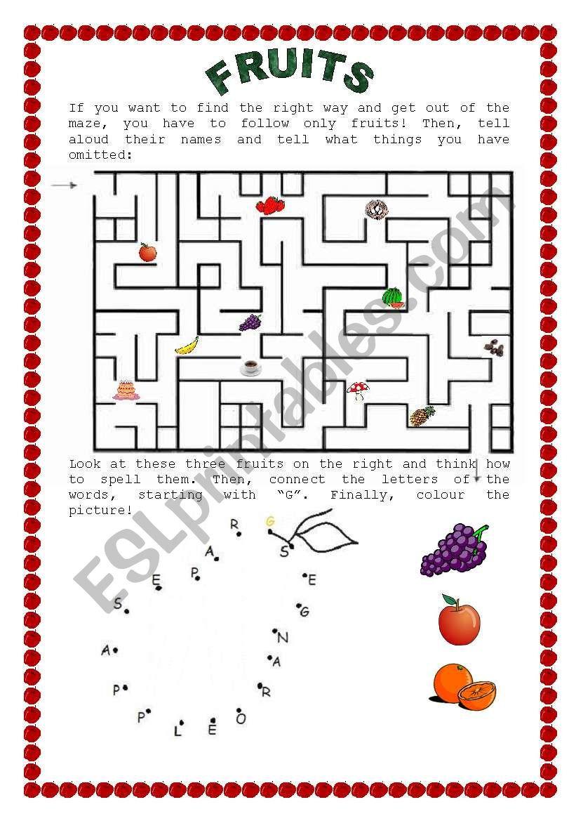 Fruits Of the Spirit Worksheet Fruits A Maze and Dot to Dot Esl Worksheet by Marzenka