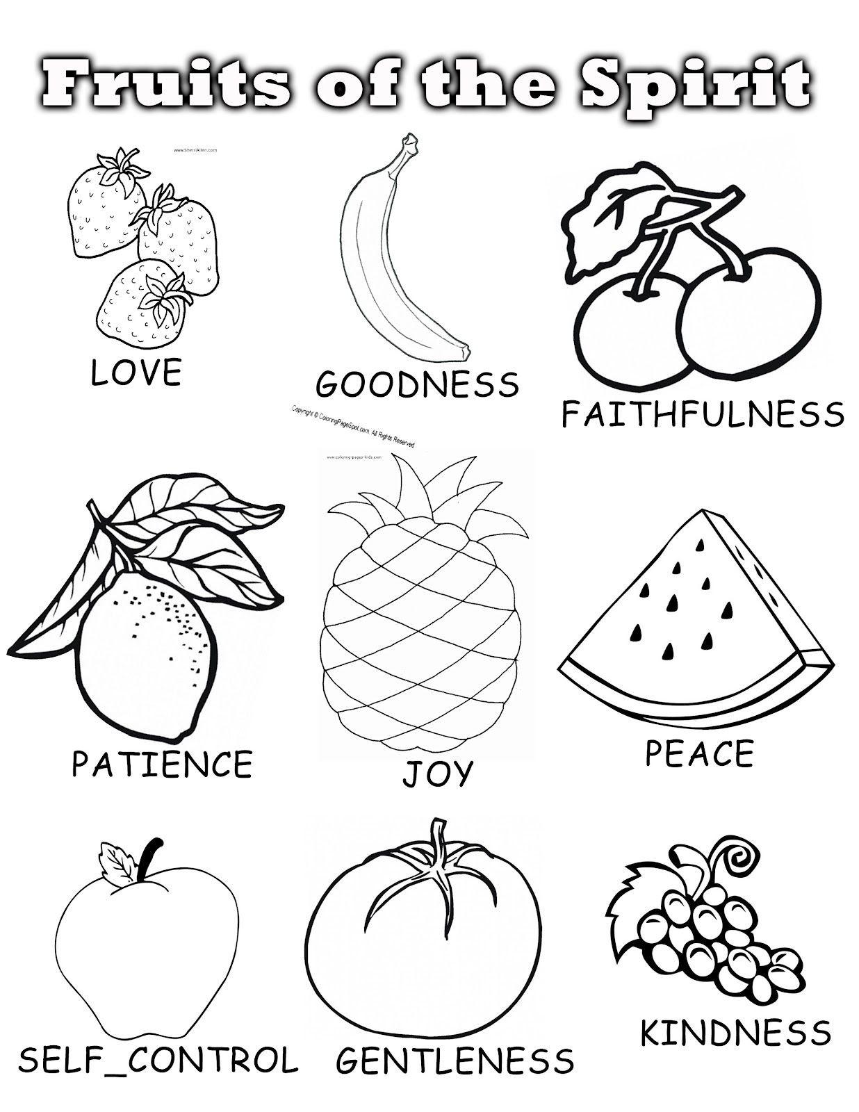 Fruits Of the Spirit Worksheet Fruits the Spirit Sunday School Unit Coloring Fruit
