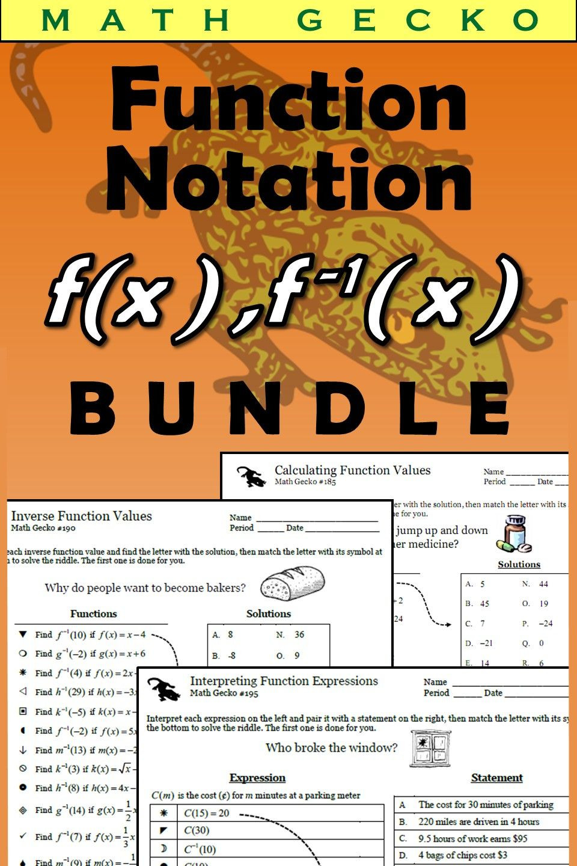 Function Notation Worksheet Answers Function Notation Bundle