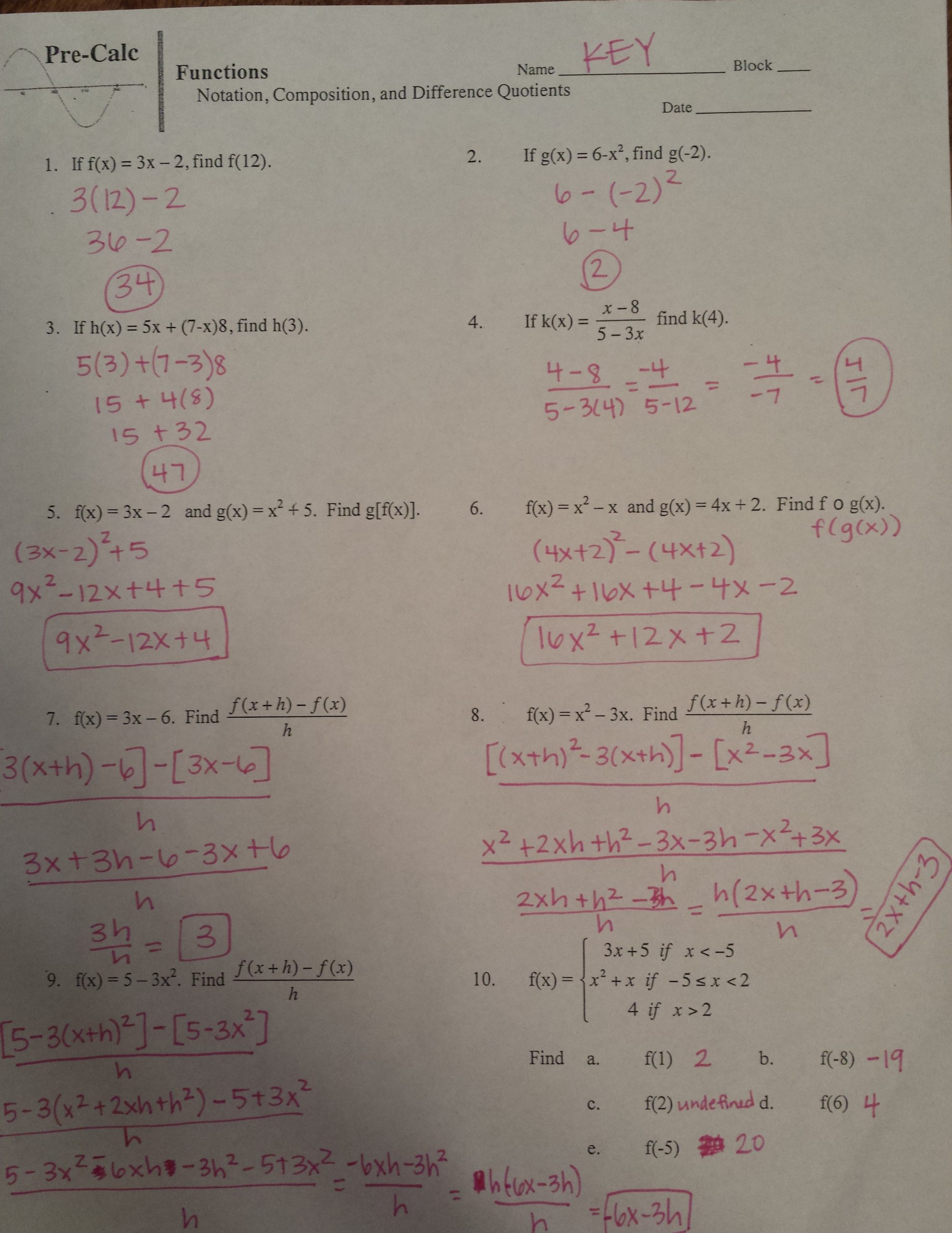 Function Notation Worksheet Answers Pre Calculus Schmitz Chapter 1 Pleted Ws