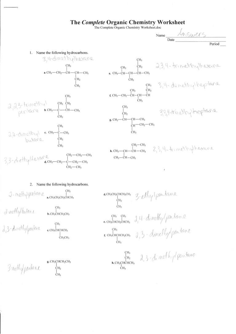 Functional Group Practice Worksheet Plete organic Chemistry Worksheet Answers