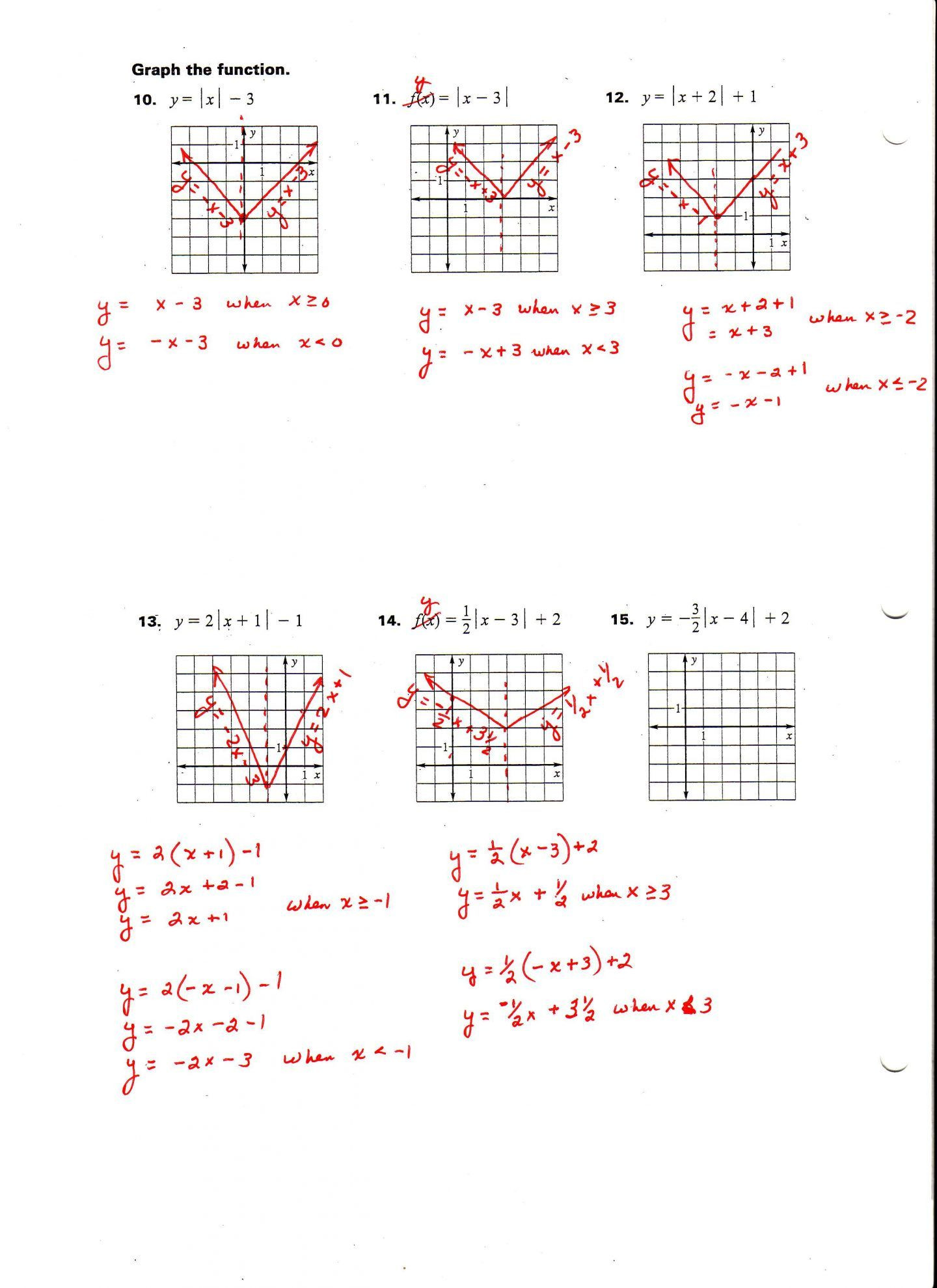 Graphing Absolute Value Inequalities Worksheet Graphing Absolute Value Equations Worksheet Algebra 1