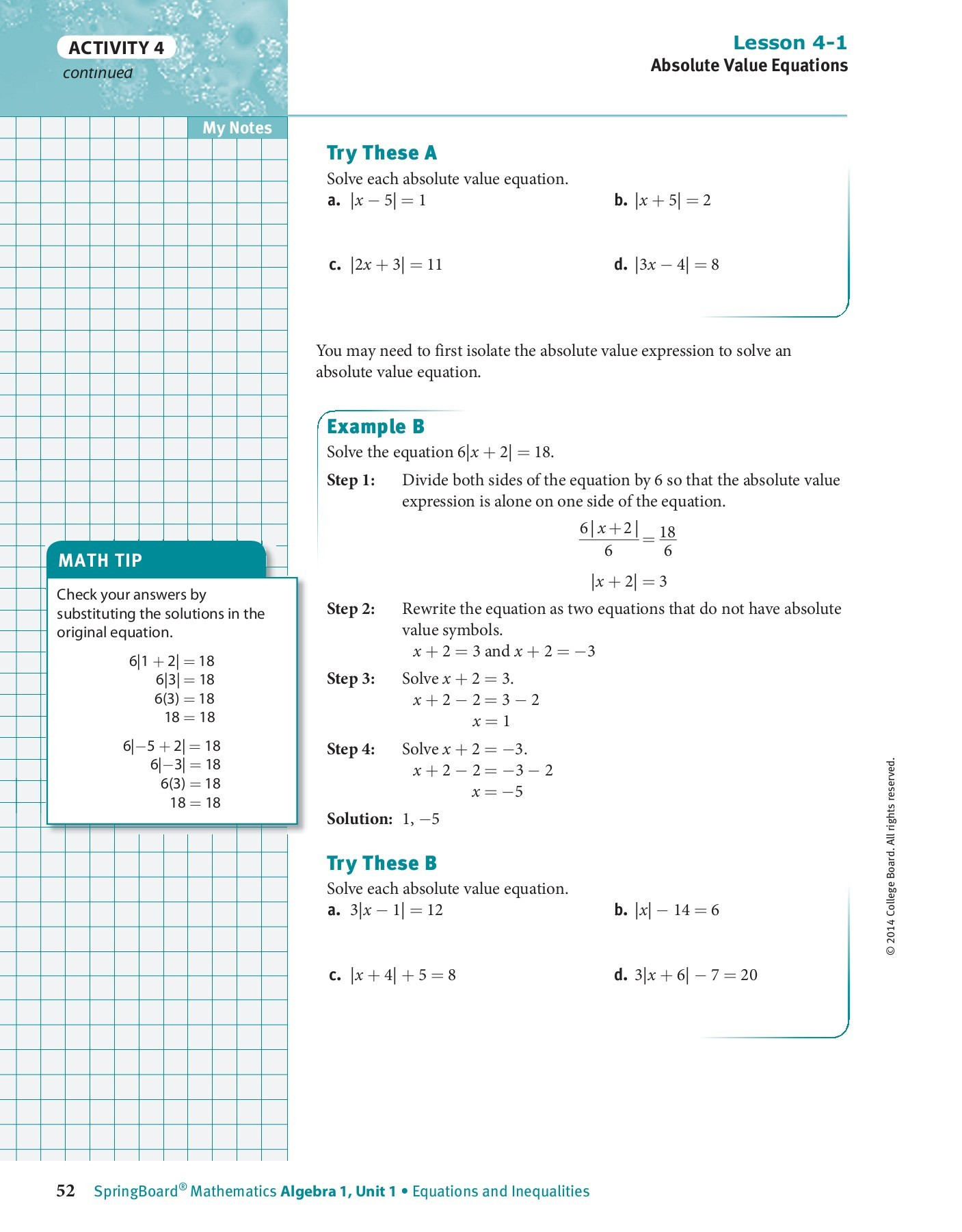 Graphing Absolute Value Inequalities Worksheet Lesson 2 6 Practice B solving Absolute Value Equations