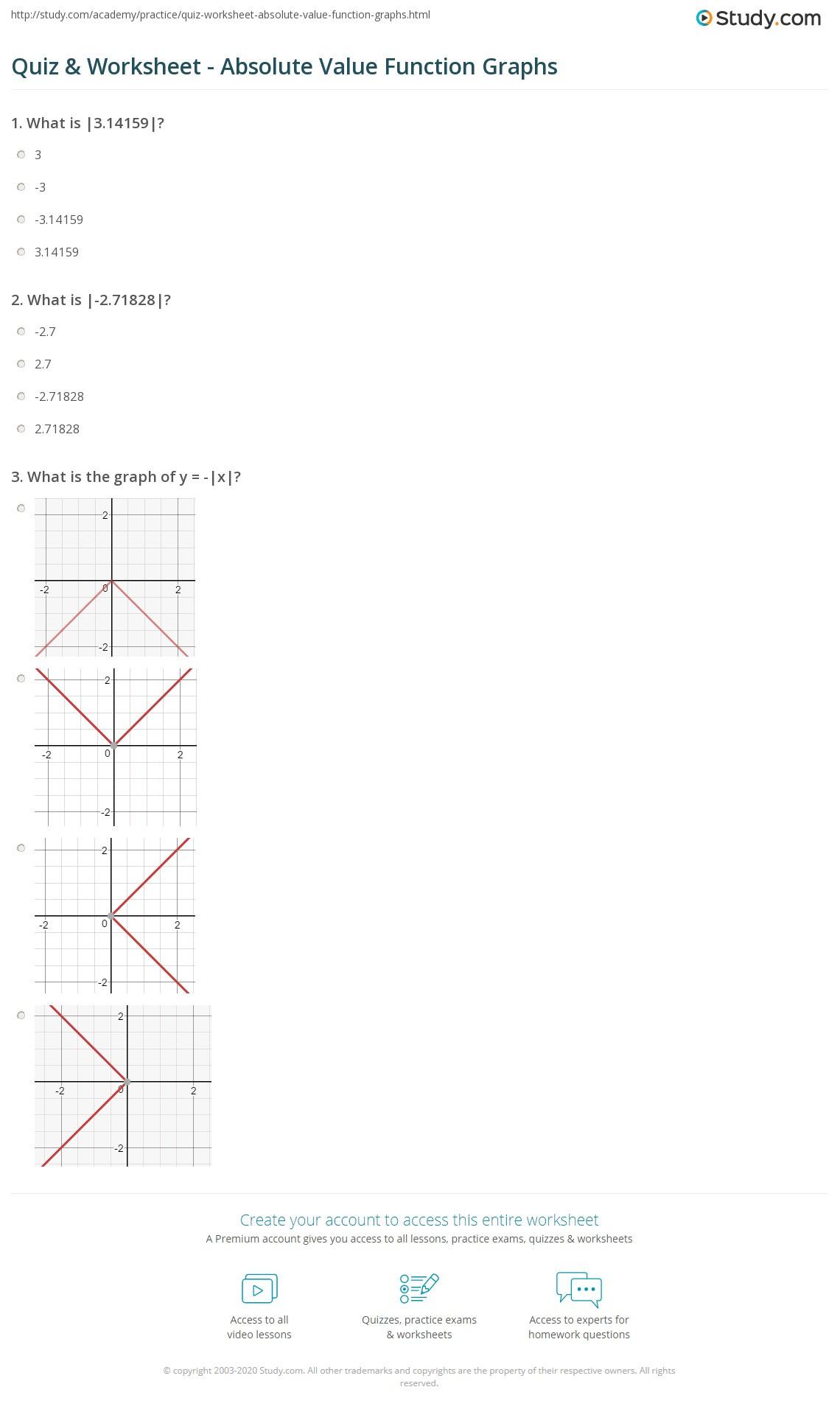 Graphing Absolute Value Inequalities Worksheet Practice Worksheet Absolute Value Functions 🏆 Graphing