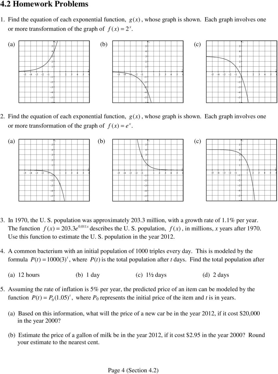 Graphing Exponential Functions Worksheet Answers 4 2 Applications Of Exponential Functions Pdf Free Download