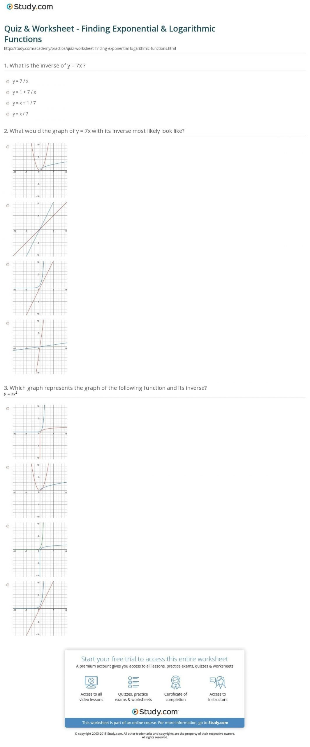 Graphing Exponential Functions Worksheet Answers Algebra Exponential Functions Worksheets