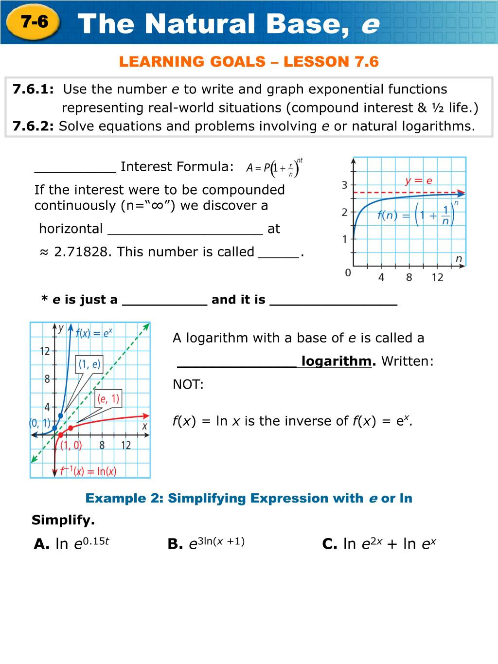 Graphing Exponential Functions Worksheet Answers Ppt 7 6 1 Use the Number E to Write and Graph Exponential