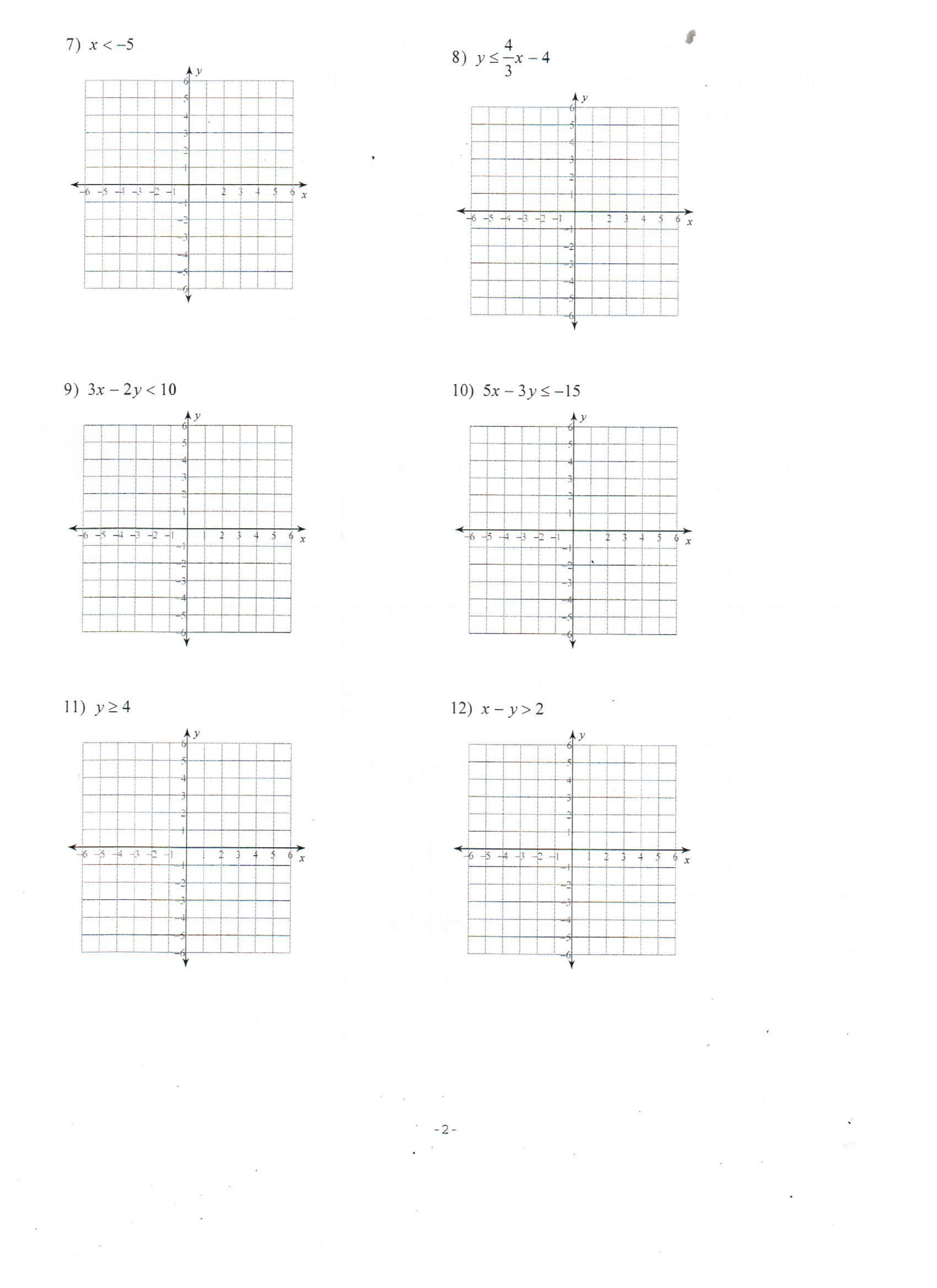 Graphing Linear Inequalities Worksheet 100 [ Graphing Inequalities Worksheets ]