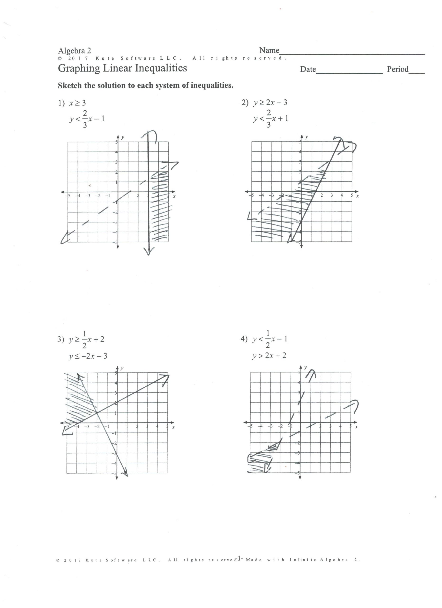 Graphing Linear Inequalities Worksheet Answers Algebra 2 Chapter 3 Systems Linear Equations Inequalities