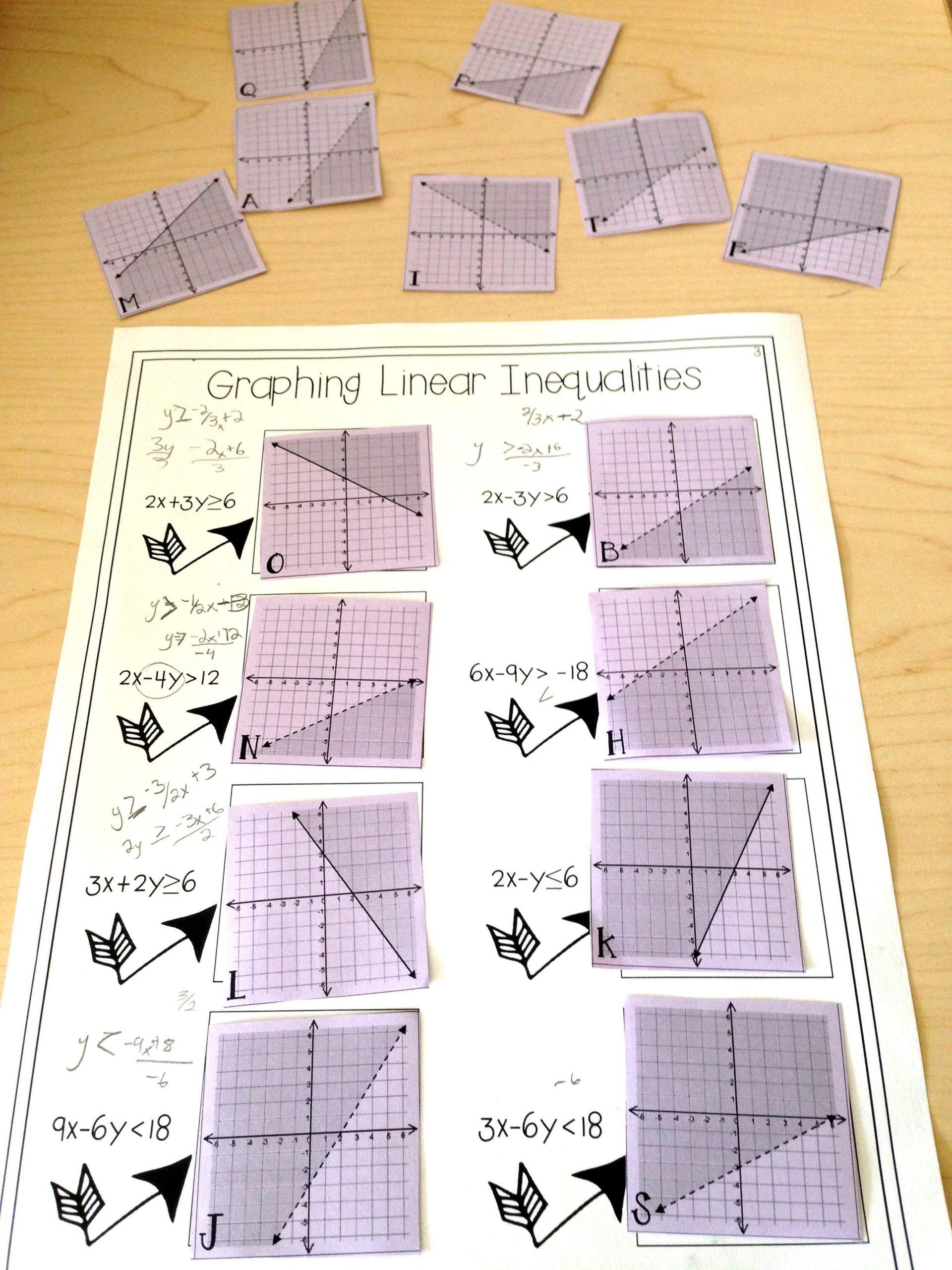 Graphing Linear Inequalities Worksheet Graphing Linear Inequalities Card Match Activity