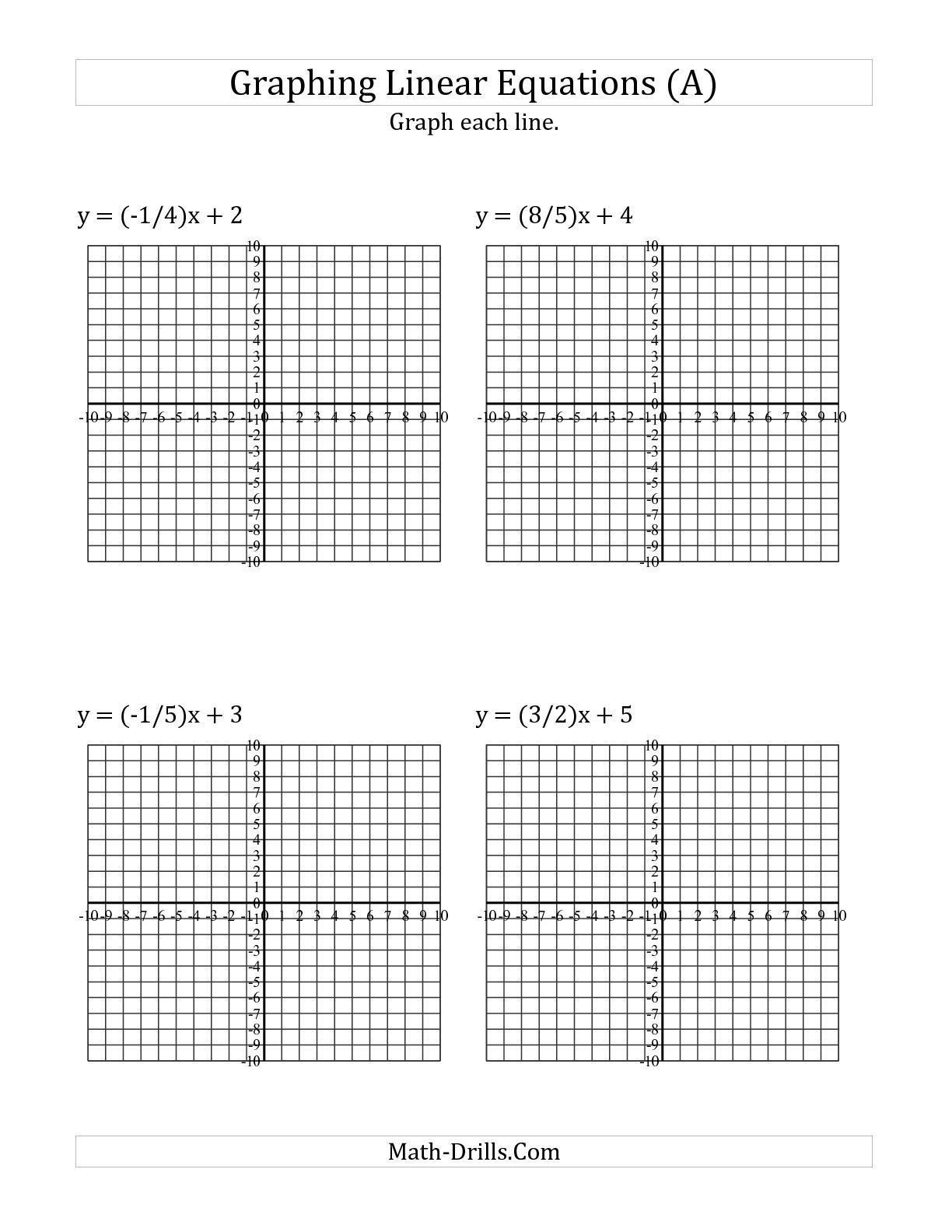 Graphing Systems Of Equations Worksheet Graphing Linear Equations Practice Worksheet the Graph A