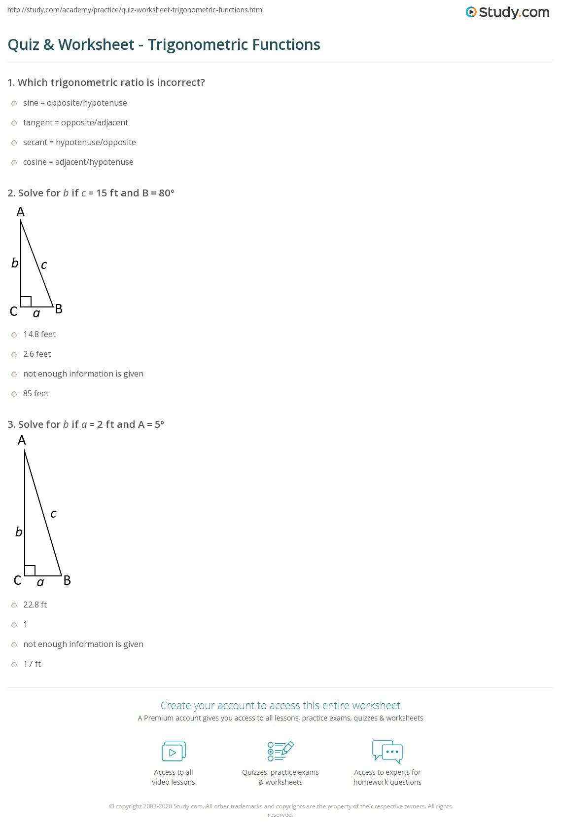 Graphing Trig Functions Practice Worksheet Quiz & Worksheet Trigonometric Functions