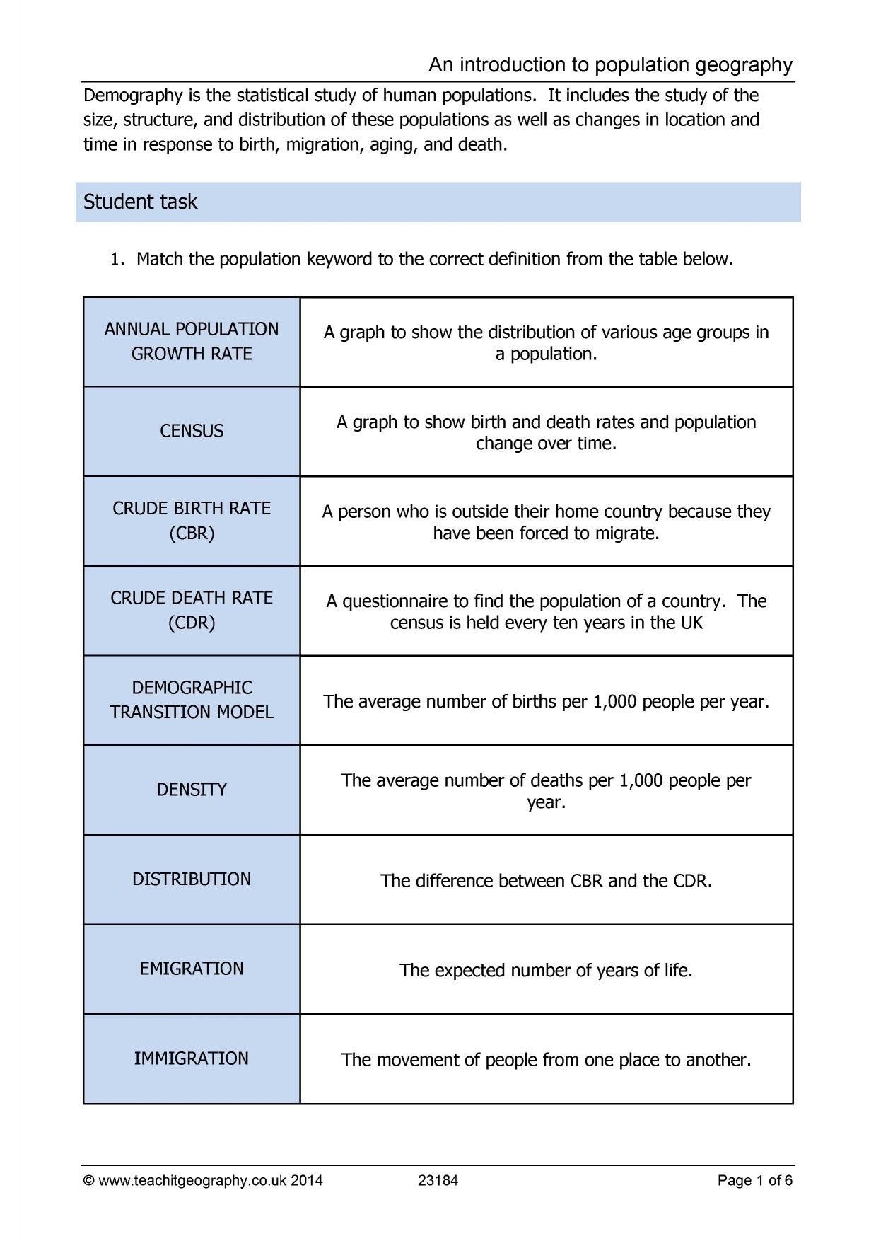 Human Population Growth Worksheet Answer Ks3 Population