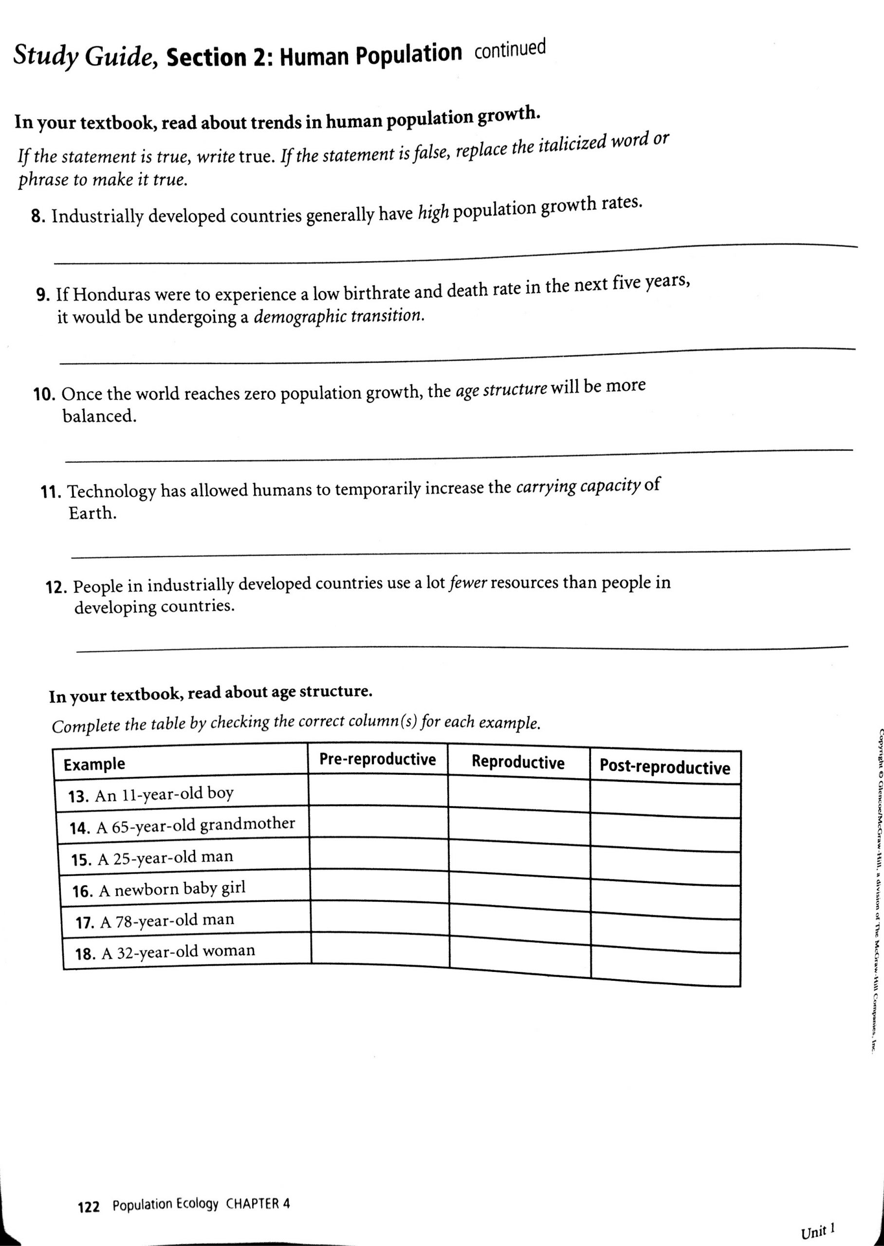 Human Population Growth Worksheet Answer Population Munity and Ecosystem Worksheet Answer Key