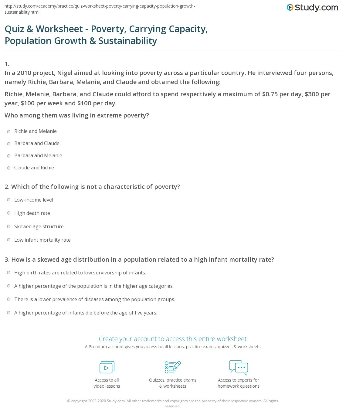 Human Population Growth Worksheet Answer Quiz & Worksheet Poverty Carrying Capacity Population