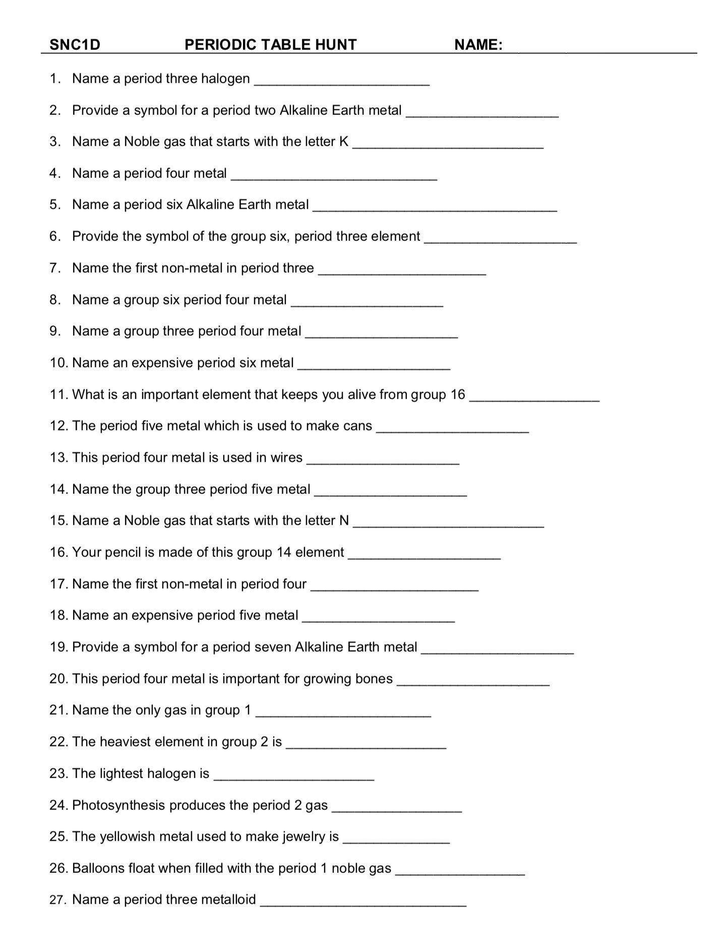 Hunting the Elements Worksheet Pin On Printable Blank Worksheet Template