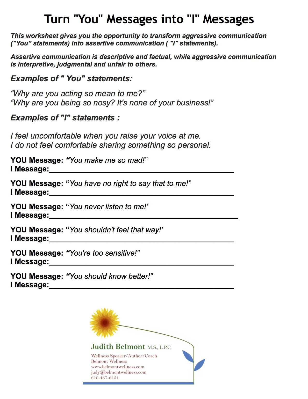 I Feel Statements Worksheet these are Games and Activities that are Great for Team