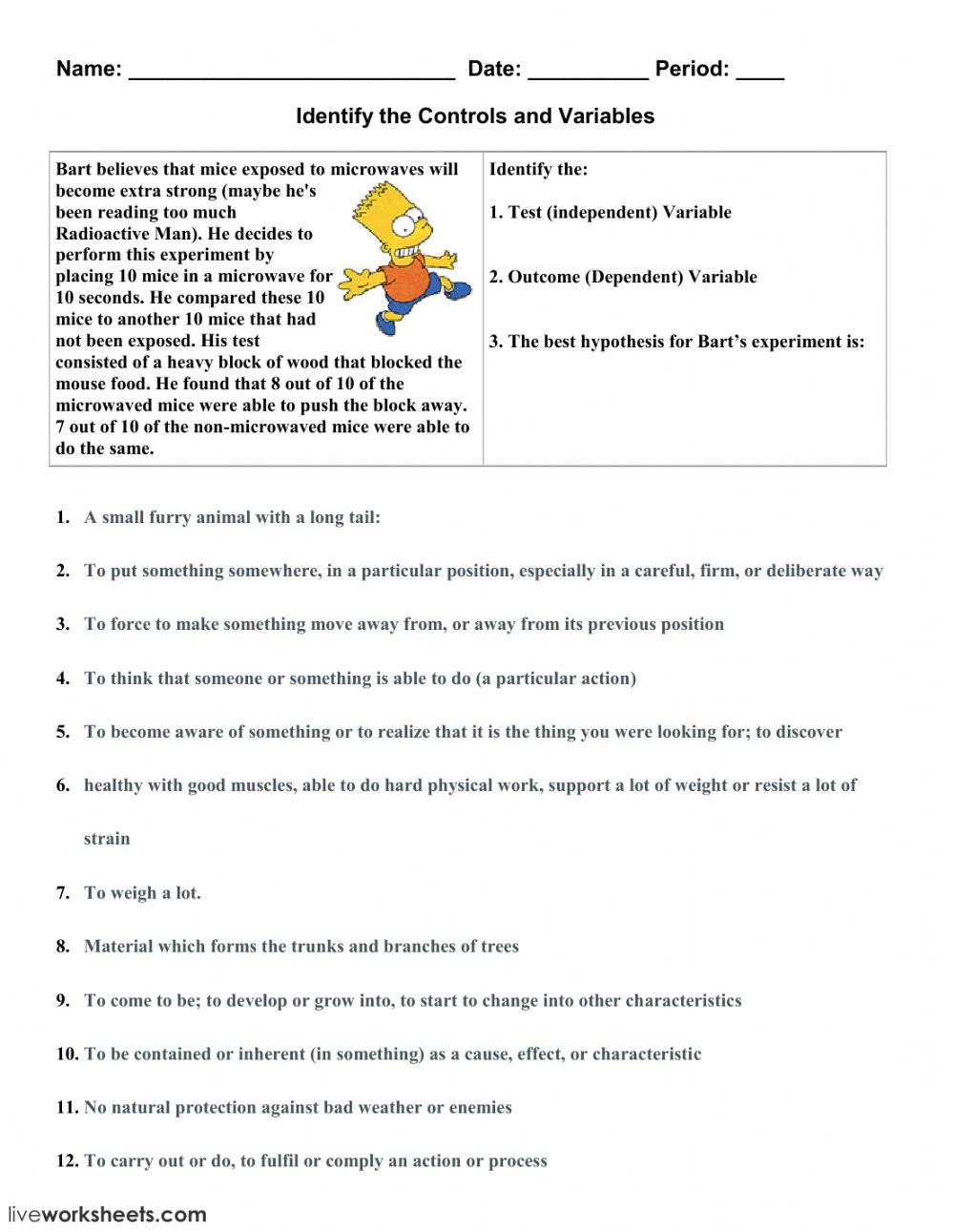 Identifying Variables Worksheet Answers Identify the Controls and Variables 1 Interactive Worksheet
