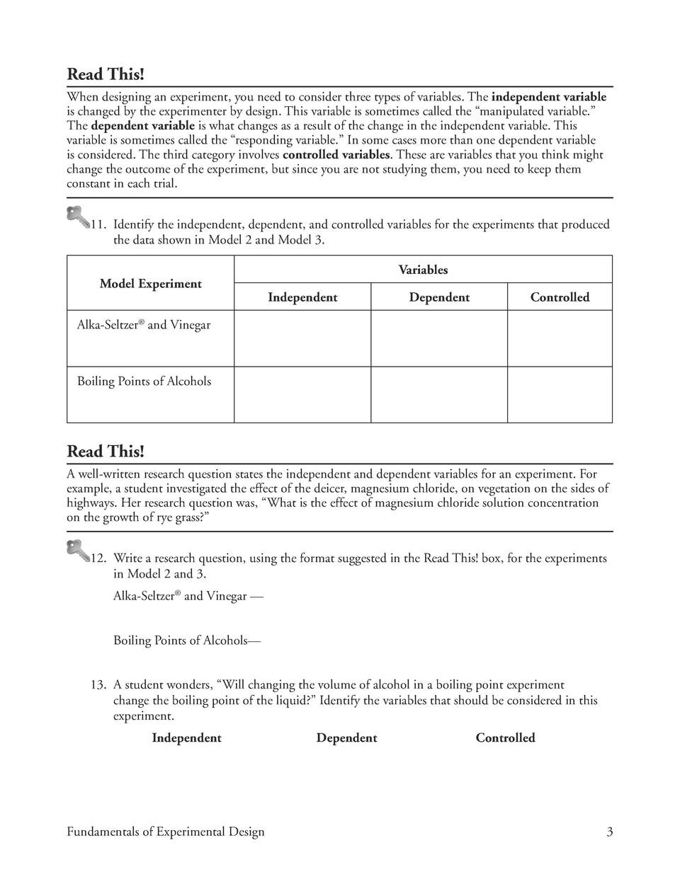 Identifying Variables Worksheet Answers Identifying Variables Worksheet Key