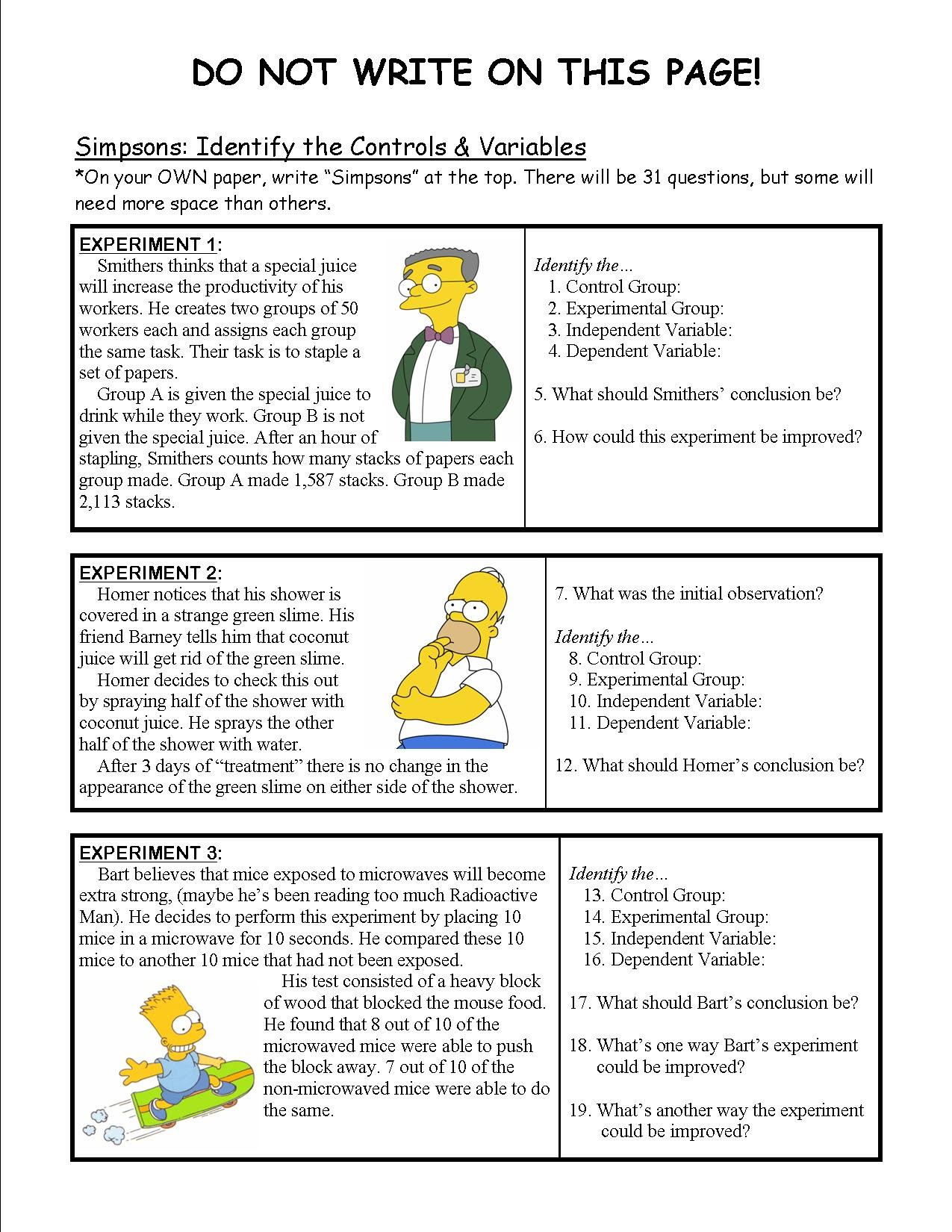 Identifying Variables Worksheet Answers Independent and Dependent Variables Worksheet Science