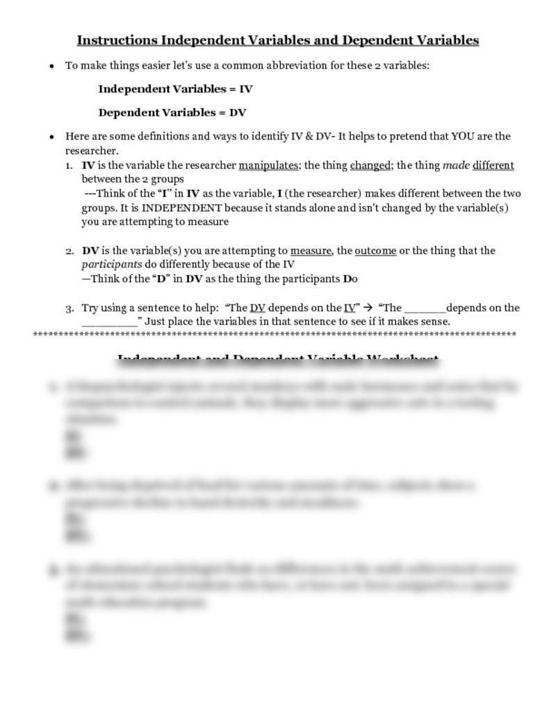 Identifying Variables Worksheet Answers Worksheet Independent and Dependent Variables