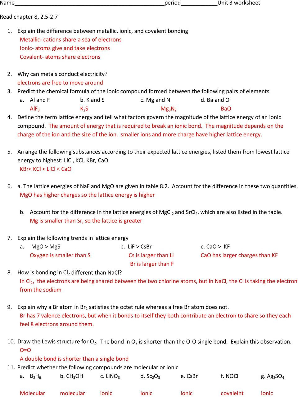 Ionic and Covalent Bonding Worksheet Name Period Unit 3 Worksheet Pdf Free Download