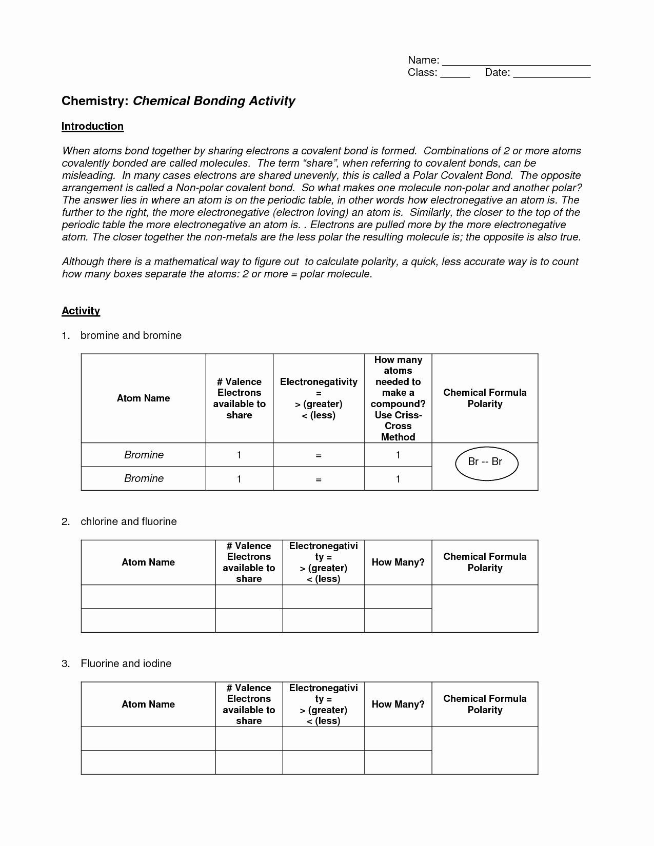 Ionic and Covalent Bonds Worksheet 50 Ionic Bonding Worksheet Key In 2020