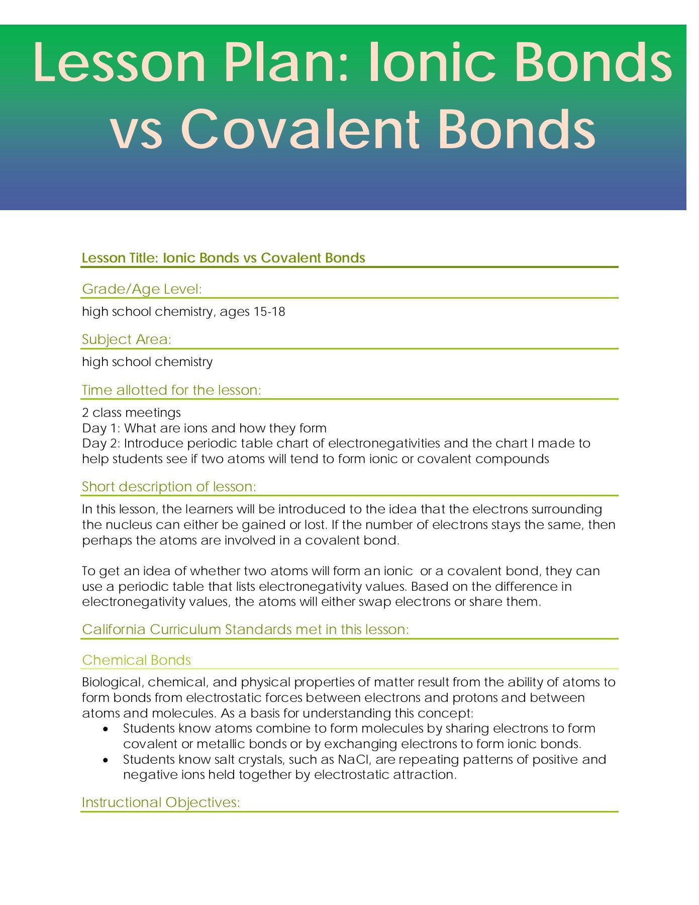 Ionic and Covalent Bonds Worksheet Lesson Plan Ionic Bonds Vs Covalent Bonds for Students