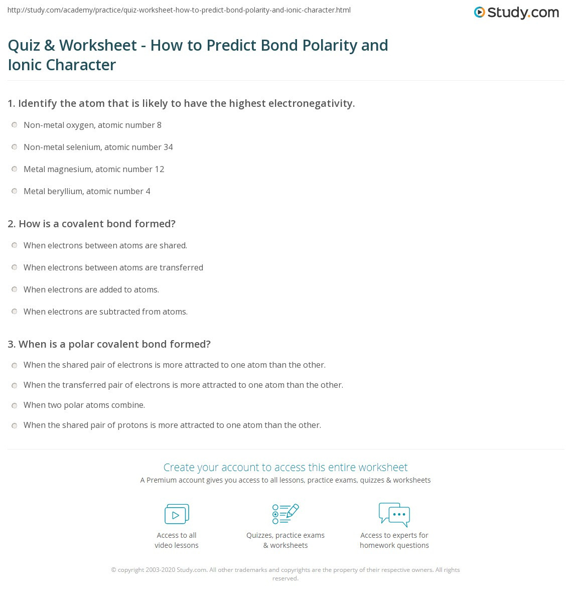 Ionic and Covalent Bonds Worksheet Quiz & Worksheet How to Predict Bond Polarity and Ionic